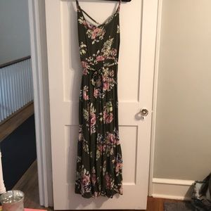 Torrid OLIVE GREEN FLORAL CHALLIS MAXI DRESS